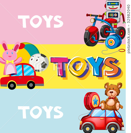 Poster design with toys in background 32982040