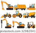 Different types of construction trucks 32982041