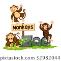 Three monkeys in the zoo 32982044