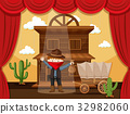 Boy acting on stage with cowboy scene 32982060