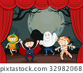 Children in halloween costume on stage 32982068