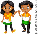 Boy and girl from India waving hands 32982091