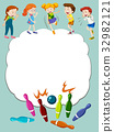 Border template with kids bowling 32982121