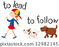 Opposite wordcard for to lead and to follow 32982145