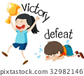 Opposite wordcard for victory and defeat 32982146