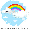 Airplane flying over the rainbow 32982152