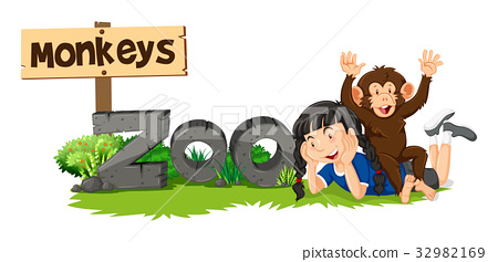 Monkey and girl by the zoo sign 32982169