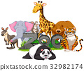 Wild animals around the zoo sign 32982174