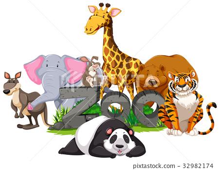 Wild animals around the zoo sign 32982174