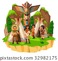 Native american indians at their tents 32982175