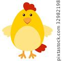 Cute chicken on white background 32982198
