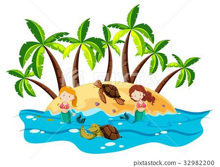 Mermaids and sea turtles in the sea 32982200