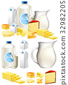 Different dairy products with milk and cheese 32982205