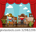 Cowboy town on stage with two kids acting 32982206