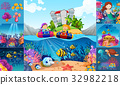 Ocean scenes with children and sea animals 32982218