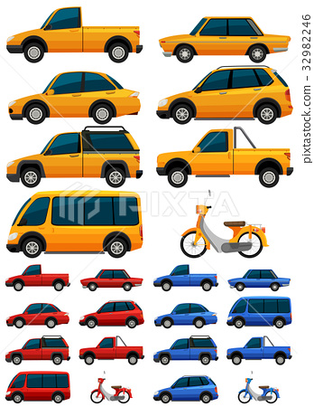 Different types of transportations in three colors 32982246