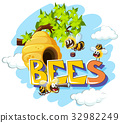 Bees flying around beehive 32982249