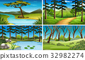 Four scenes of forest and river 32982274