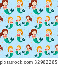 Seamless background with mermaids 32982285