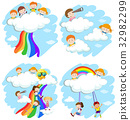 Happy children playing on the clouds and rainbow 32982299