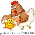 Mother hen and little chick 32982307