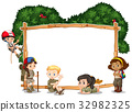 Frame template with kids camping in background 32982325