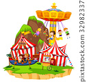 Children playing on rides in amusement park 32982337