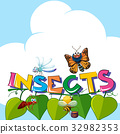 Word insects with many insects on the leaves 32982353