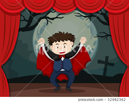 Stage play with boy in vampire costume 32982362