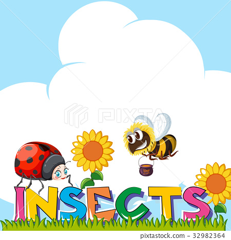 Wordcard for insects with insects in garden 32982364
