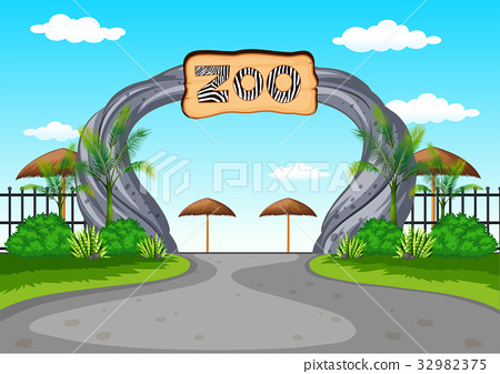 Zoo entrance with no visitors 32982375