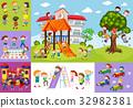 Children having fun at school and playground 32982381