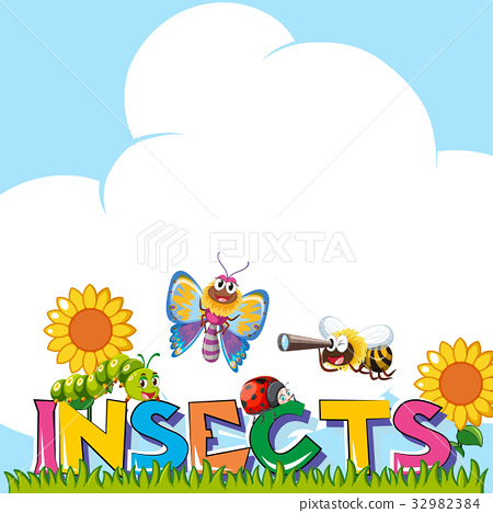 Background design with many insects 32982384
