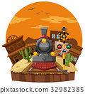 Train ride in western town 32982385