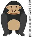 Black gorilla on white background 32982399