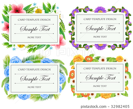 Card template design with flower borders 32982405