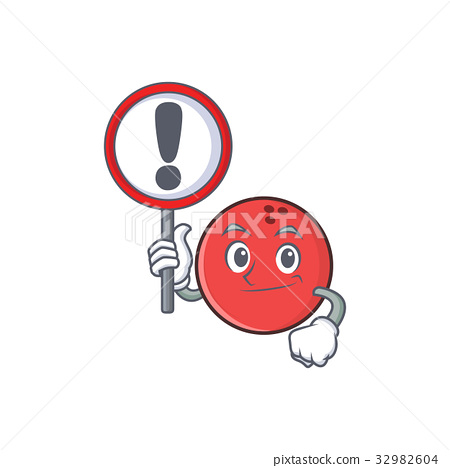 bowling ball character cartoon with sign 32982604