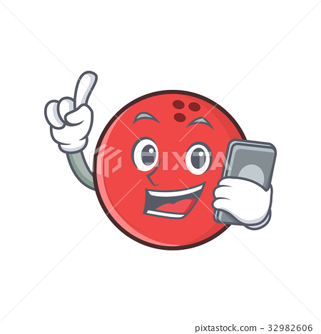 bowling ball character cartoon with phone 32982606