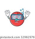 Diving bowling ball character cartoon 32982976