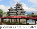 ปราสาทมัทซึโมโตะ,ปราสาท,ท้องฟ้าเป็นสีฟ้า 32985026