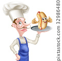 Cartoon Chef Hotdog Thumbs Up 32986480