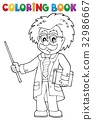 Coloring book scientist with pointer 32986667