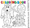 Coloring book werewolf theme 32986673