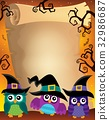 Halloween parchment with owls theme 2 32986687
