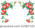 วัสดุกรอบบนของดอกกุหลาบบานเดียวสีแดง 32987192