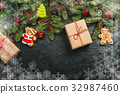 Christmas background with decorations 32987460