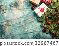 Christmas background with decorations 32987467