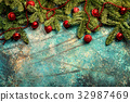 Christmas background with fir tree 32987469
