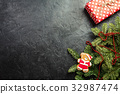 Christmas background with decorations 32987474