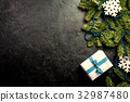 Christmas background with decorations 32987480